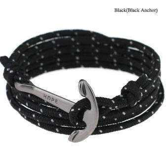 Harga High Quality Store New New Women Men Multilayer Leather Handmade Wristband Rope Anchor Bangle Bracelet Black(Black Anchor)