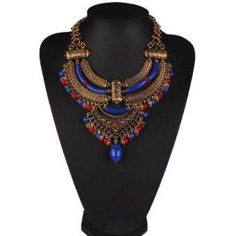 Harga High Quality Store New New Vintage Bohemian Coin Bead Tassel Choker Collar Bib Necklace Chain Jewelry Blue