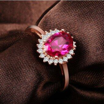 Harga Gemstone Jewelry Adjustable Ruby Ring Princess Diana Style Ring Band Rose Gold Plated