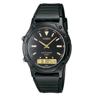 Harga Casio Men Ana-Digi Black Dial Resin Strap Watch AW-49HE-1AVDF