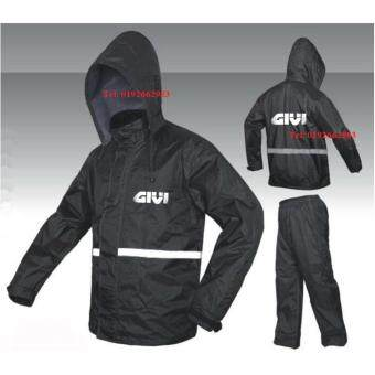Harga High Quality Givi Raincoat Jacket Waterproof Canvas Pants and Sling Bag (Black Blue)