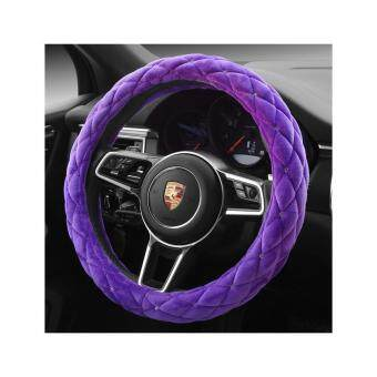 Harga Luxury Anti-slip Purple Plush Soft Auto Car Steering Wheel Cover Cap Case Diam 38CM