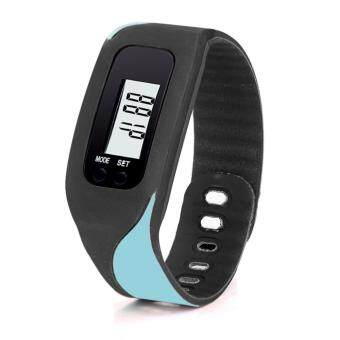 Harga Digital LCD Pedometer Run Step Walking Distance Calorie Counter Watch Bracelet Sky blue