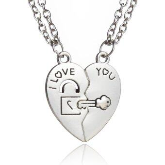 Harga Lover Jewelry Gift Broken Heart Lock&key - I Love You - Couple Pendant Necklaces Set(2pcs) for Men Women Silver Alloy
