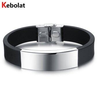Harga Kebolat Stainless Steel Wire Silicone Bracelets Fashion Men Bracelet Cool Man Casual Bracelet Trend Male Jewelry Accessorie PH867