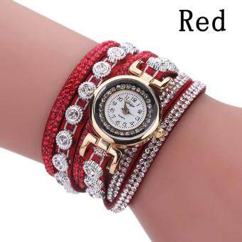 Harga Women Set Auger Hand Woven Winding Dress Watch Girl's Fashion Number Pointer Wristwatch Gift - red
