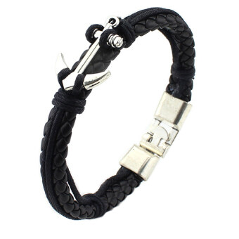 Harga Men Women's Alloy Silver Anchor Bracelet Braided Leather Wristband