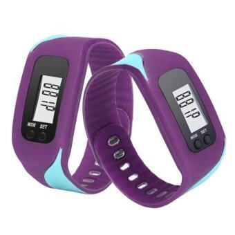 Harga Coconie Digital LCD Pedometer Run Step Walking Distance Calorie Counter Watch Bracelet Purple