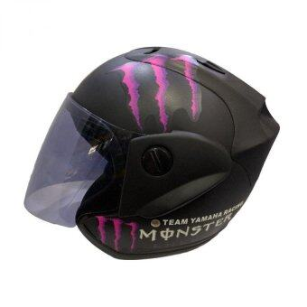Harga Motorbike Helmet MONSTER HELMET WITH VISOR (MATT BLACK+PINK)