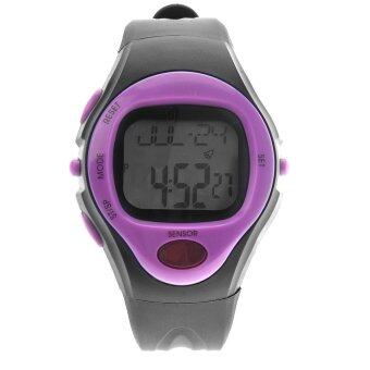 Harga 06221 Waterproof Unisex Pulse Heart Rate Monitor Calorie Counter Sports Digital Watch with Date /Alarm /Stopwatch (Purple) - Intl