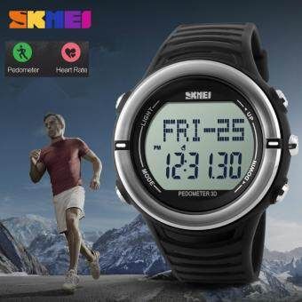 Harga Heart Rate Monitor Sport Watch Men Digital LED SKMEI 1111 Alarm Chronograph Waterproof Back Light Stop Watch Auto Date Silicone
