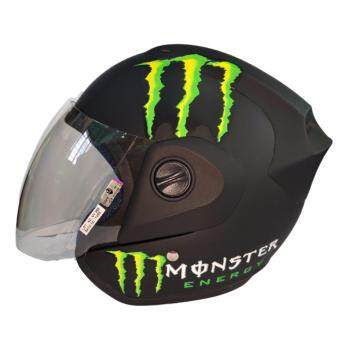 Harga MDH MONSTER HELMET WITH VISOR (MATT BLACK GREEN)