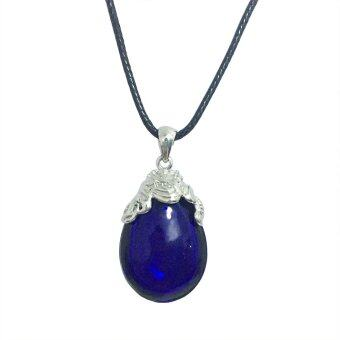 Harga Simple Oval Murano Glass Aromatic Pendant Necklace Essential Oil Diffuser (Blue)