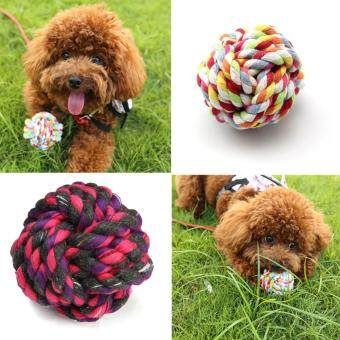 Harga Pet Puppy Dogs Cotton Ropes Chews Toy Ball Play Braided Bone Knot Fun Clean
