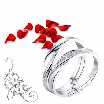 Harga Realeos Couple Ring With Adjustable Ring Size Set (2 in 1) (Free Ring Box) - R478