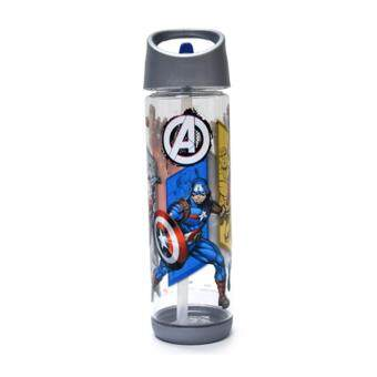 Harga Marvel Avengers 550ML Water Bottle With Straw - Grey Colour