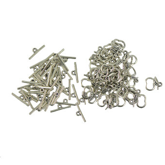 "Harga 50 Sets Apple Leaf ""OT"" Toggle Clasps Charms Jewelry Making Findings DIY"