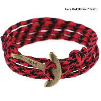 Harga High Quality Store New New Women Men Multilayer Leather Handmade Wristband Rope Anchor Bangle Bracelet Dark red(Bronze Anchor)