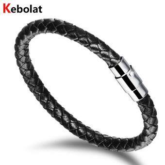 Harga Kebolat 220mm Serpentine Genuine Leather Stainless Steel Magnetic Buckle Men Bracelet Jewelry Wire Bracelets Cool Man Casual Trend Male Accessorie PH956-L220