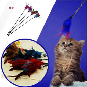 Harga Fun Created Toy Cat Feather Bell Wand Teaser Rod Bead Interactive Play Toys