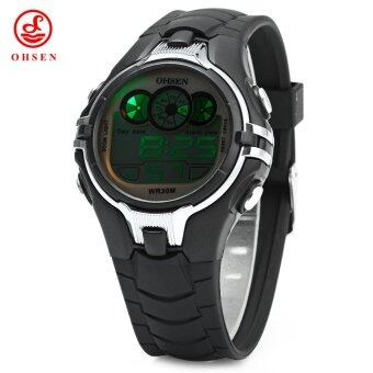 Harga OHSEN AD0739 Children Silicone LED Lights Sports Digital Watch with Date Week Alarm Chronograph
