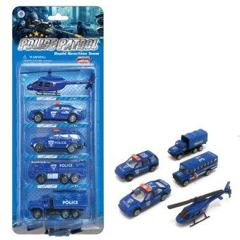 Harga AOXINDA Diecast Metal Alloy Police Wagon Helicopter Vehicle Cars Model Toys Sets - 5pcs
