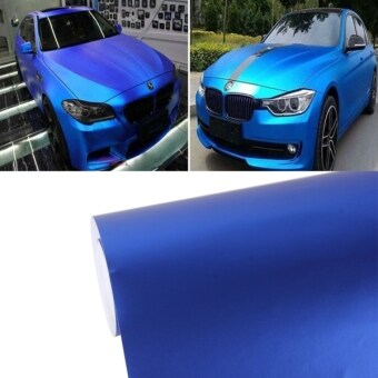 Harga 1.52m × 0.5m Ice Blue Metallic Matte Icy Ice Car Decal Wrap Auto Wrapping Vehicle Sticker Motorcycle Sheet Tint Vinyl Air Bubble Free(Dark Blue)