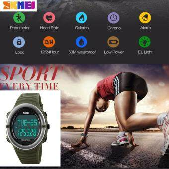 Harga Heart Rate Monitor Sport Watch Women Digital LED SKMEI 1111 Alarm Chronograph Waterproof Back Light Stop Watch Auto Date Silicone