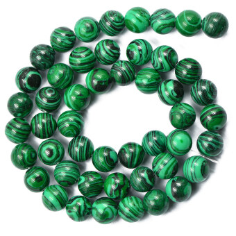 Harga Green Malachite Round Gemstone Loose Beads Jewelry DIY Making Strand 8mm