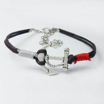 Harga Men Silver Anchor Braided Rope Bracelet Bangle Summer Jewelry Coffee