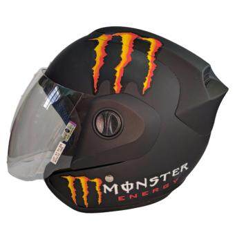 Harga MDH MONSTER HELMET WITH VISOR (MATT BLACK ORANGE)