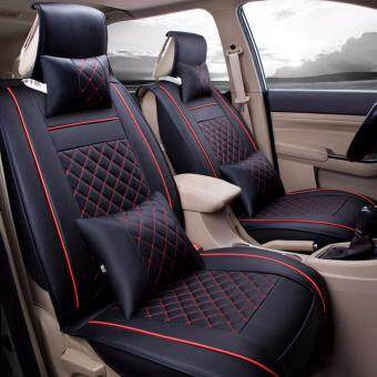 Harga Car Seat Covers, PU Leather, Front and Rear Row Full Set for 5 Seats Vehicle,for Full Seasons-Black and Red Size M