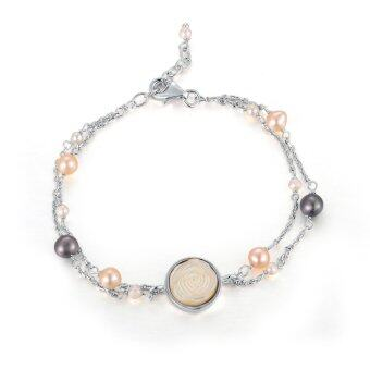 Harga MBLife 925 Sterling Silver White Rose Fresh Water Pearl Bracelet