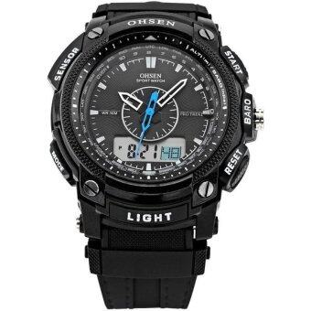 Harga OHSEN Digital LCD Alarm Date Mens Military Sport Rubber Quartz Wrist Watch Black
