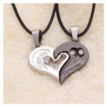 Harga 2Pcs Men Women Lover Couple Necklace I Love You Heart Shape Pendant Chain Jewel Black White