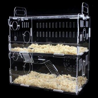 Harga Toparchery Transparent Acrylic Pet Animals Hamster Clear View House 2 Tiers Castle Rat Mouse Cage Villa