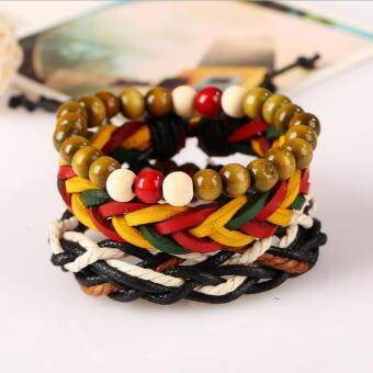 Harga CE Jamaica Reggae Red Yellow Green Braided Kraft Bracelet Genuine Leather Hip Hop Hip Hop Hip Hop Kneading Bracelet Couple Bracelet Men Bracelet Punk Bracelet