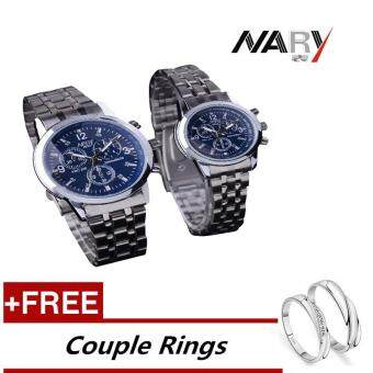 Harga NARY 6033 Dial Classic Couple Lover Women Men Quartz Full Stainless Steel Wrist Watch Blue ( with Free Adjustable Lovers Rings )