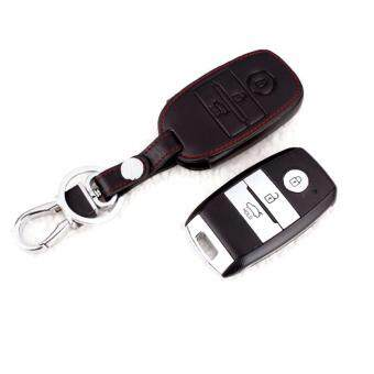 Harga KIA Cerato K3 Optoma K5 Keyless Remote Leather Car Key Cover Case (Black)