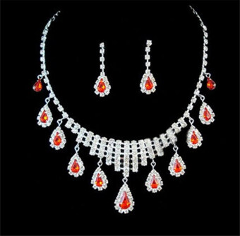 Harga Red Crystal Rhinestone Prom Formal Wedding Earrings Necklace Set