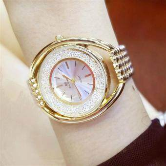 Harga New Fashion Famous BS brand Full Crytal Women Rose Gold Watch Lady Luxury Diamond Dress Watch Rhinestone Bangle Bracelet