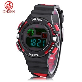 Harga OHSEN 1610 Kids Digital Movt Watch LED Light Date Day Chronograph Display 5ATM Wristwatch