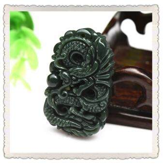 Harga Seiko carved Natural Hetian Jade Cyan Jade Dragon Pendant Neckalce Fashion Men Jewelry
