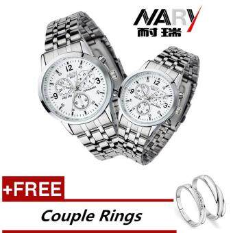Harga NARY 6033 Dial Classic Couple Lover Women Men Quartz Full Stainless Steel Wrist Watch white +Free Adjustable Lovers Rings (Buy 1 Get 1 Free)