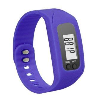 Harga Coconie Digital LCD Pedometer Run Step Walking Distance Calorie Counter Watch Bracelet Navy Blue