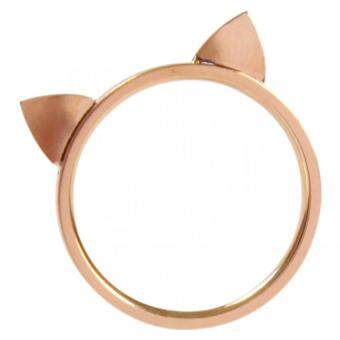 Harga 18k Rose Gold Plated Stainless Steel Cat Ears Ring Kitty Cat Ring Size Gift Favor