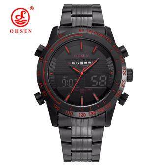 Harga OHSEN A1701 Fashion digital quartz Full steel band men wristwatches(Black Red)