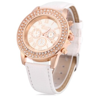 Harga Women Quartz Watch Leather Band Artificial Diamond Wristwatch for Ladies