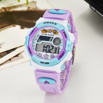 Harga OHSEN Brand Children Watches LED Digital Quartz Cartoon Watch Outdoor Waterproof Wristwatches For Kids (Purple)