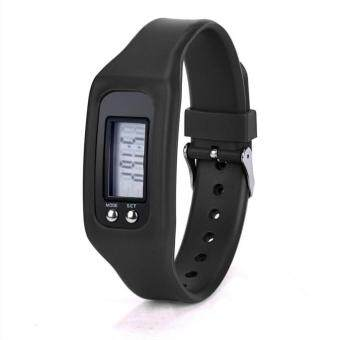 Harga Digital LCD Pedometer Run Step Walking Distance Calorie Counter Watch Bracelet Black